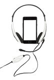 Mobile phone and headphones Stock Photography