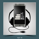 Mobile phone and headphones. To represent the composition of listening to audiobooks. Vector image Royalty Free Illustration