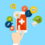 Mobile phone with health application open with hand. Vector mode. Rn creative flat design. Vector illustration