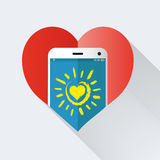 Mobile phone with heart Royalty Free Stock Images