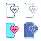 Mobile phone with heart symbol. Telemedicine vector outline icon. Mobile phone and heart symbol with pulse line inside. Vector outline icon set. Telemedicine Royalty Free Stock Image