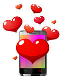 Mobile phone with hearts vector illustration Stock Image