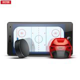 Mobile phone with ice hockey helmet, puck and. Mobile phone with ice hockey helmet and puck and field on the screen. Sports theme and applications. Vector Royalty Free Stock Image