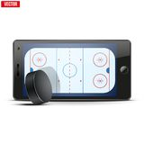Mobile phone with ice hockey puck and field on the Royalty Free Stock Photography