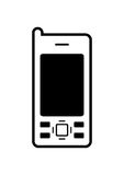 Mobile Phone Icon. Illustration of black and white color mobile phone icon or symbol