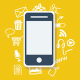Mobile phone with icon background. Royalty Free Stock Photo
