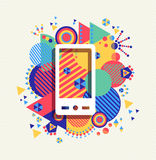 Mobile phone icon color vibrant shape background Royalty Free Stock Photography