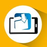 Mobile phone icon file folder social media. Vector illustration eps 10 Royalty Free Stock Photo