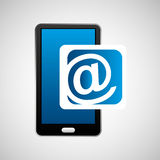 Mobile phone icon mail social media Stock Image