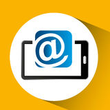 Mobile phone icon mail social media Royalty Free Stock Images