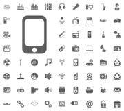 Mobile phone icon. Media, Music and Communication vector illustration icon set. Set of universal icons. Set of 64 icons.  Royalty Free Stock Image
