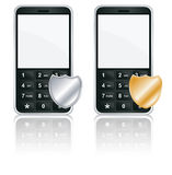 Mobile phone icon - Protection. Mobile phone icons with shield Stock Photo