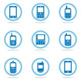 Mobile phone icon set. Blue mobile phone icon set Stock Images