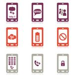 Mobile phone icon set. In multiple colors Stock Images