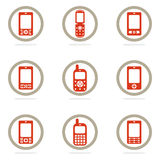 Mobile phone icon set. Colored mobile phone icon set Royalty Free Stock Photo