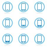 Mobile phone icon set. Blue mobile phone icon set Stock Photo