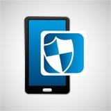 Mobile phone icon shield protection social media Stock Image