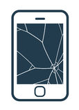 Mobile phone icon with smashed screen. Showing shattered glass on a blank screen, simple vector illustration Stock Photos