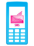 Mobile phone icon - SMS. Isolated image of mobile device with message (SMS Royalty Free Stock Image