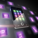 Mobile phone with icons Stock Photo