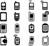 Mobile Phone Icons. A collection of 16 black mobile phone icons isolated on white vector illustration