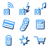 Mobile phone icons. Vector web icons, blue contour series Stock Photo