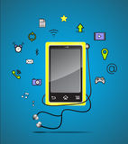 Mobile phone icons. With blue background Royalty Free Stock Photos