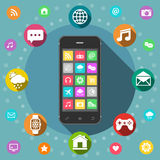 Mobile phone with icons, flat design concept Stock Images