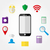 Mobile phone and Icons Royalty Free Stock Image