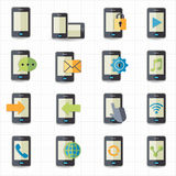 Mobile phone icons. This image is a vector illustration Stock Photo