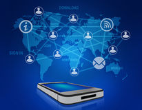 Mobile phone and icons people teamwork on world Royalty Free Stock Photo