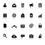 Mobile phone icons with reflect on white backgroun Royalty Free Stock Photography