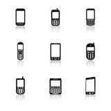 Mobile phone icons with reflection Royalty Free Stock Photography