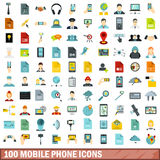 100 mobile phone icons set, flat style. 100 mobile phone icons set in flat style for any design vector illustration Stock Images