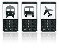 Mobile phone icons - Transport. Mobile phones with depicted icons of train, bus and plane on screen Royalty Free Stock Image