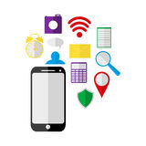 Mobile phone and Icons Royalty Free Stock Photos