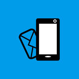 Mobile phone incoming message flat icon. Mobile phone incoming message sign simple designed Stock Images