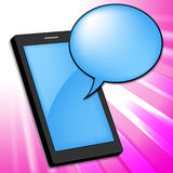 Mobile Phone Indicates Smartphone Online And Chatting Royalty Free Stock Photo