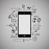 Mobile phone, infographic, business, social media Stock Photos