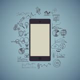 Mobile phone, infographic, business, social media Royalty Free Stock Photo