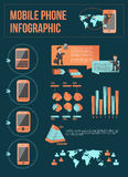 Mobile phone infographic with elements Stock Image