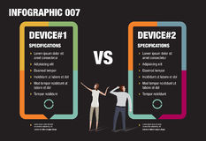 Mobile Phone Infographic. Infographic of two people comparing Mobile Phones Royalty Free Stock Photography