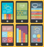 Mobile phone infographics in flat color design Royalty Free Stock Photo