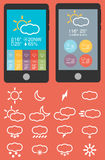 Mobile phone infographics in flat color design Stock Photography