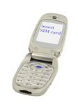 Mobile phone with INSERT SIM CARD text Royalty Free Stock Photography