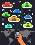Mobile phone international roaming and Teamwork Stock Photos