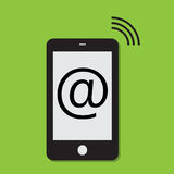 Mobile phone internet connection. On a green background Royalty Free Stock Image