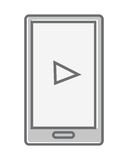 Mobile Phone Isolated on White. Video Marketing. Approaches, methods and measures to promote products and services based on video. Online video, internet Stock Photo
