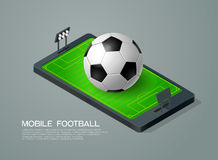 Mobile phone isometric and soccer football live Stock Photo