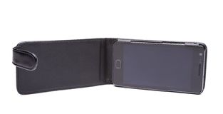 Mobile phone in its case over white background Royalty Free Stock Photography
